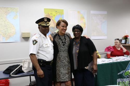 Police Cheif Timothy Johnson, Mayor Weaver, and Minnie Beulah